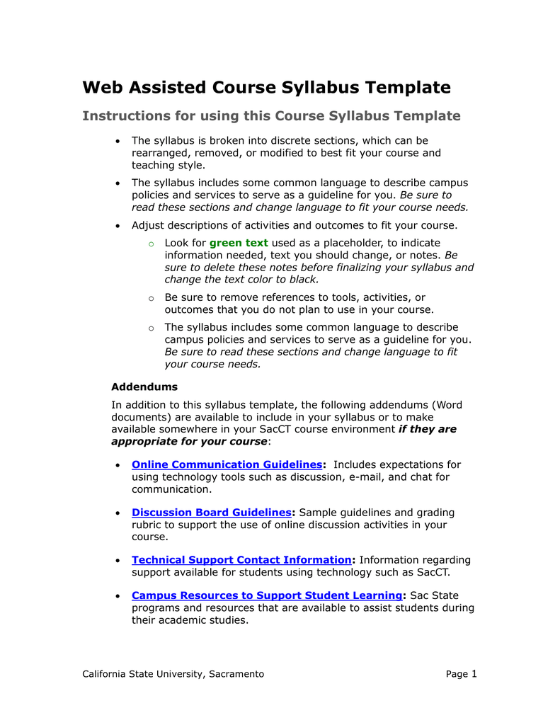 online course syllabus template