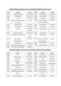 English Reading Scheme recommended booklists (Senior Form)