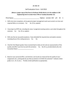 AE 481 W Self Evaluation Form – Fall 2010