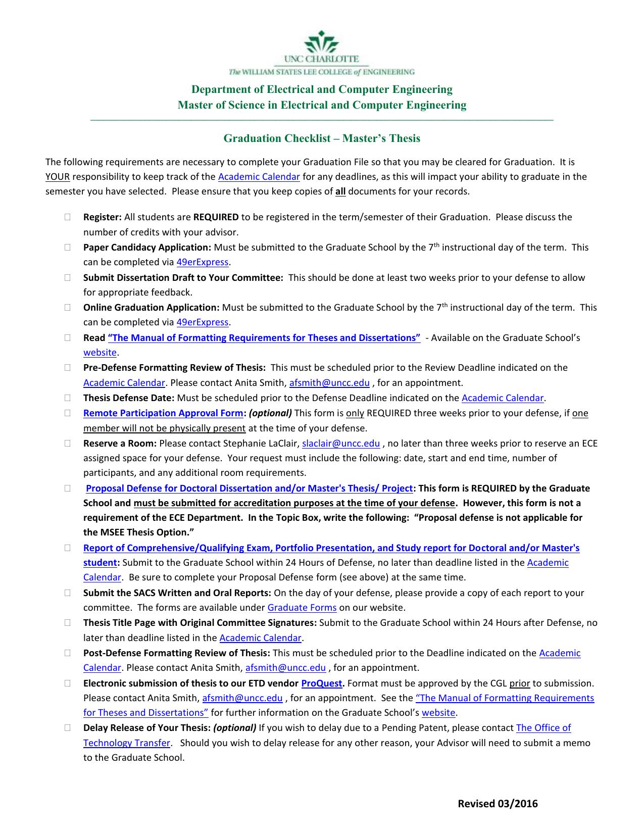 uncc thesis formatting