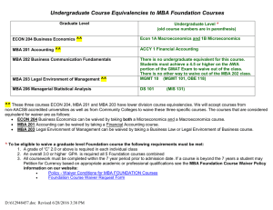 Undergraduate Course Equivalencies to MBA Foundation Courses *