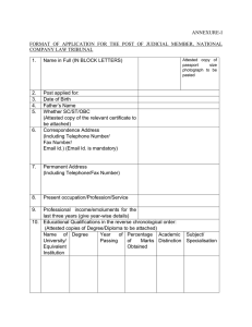 ANNEXURE-I  FORMAT  OF  APPLICATION  FOR  THE ... COMPANY LAW TRIBUNAL
