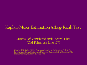 Kaplan-Meier Estimation and Log-Rank Test for Ventilated and Control Flies