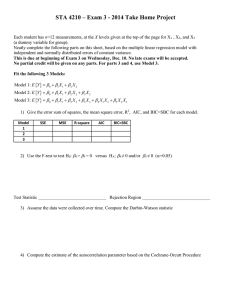 Exam 3 Take-Home Portion (Due at Beginning of Exam on December 10, 2014)