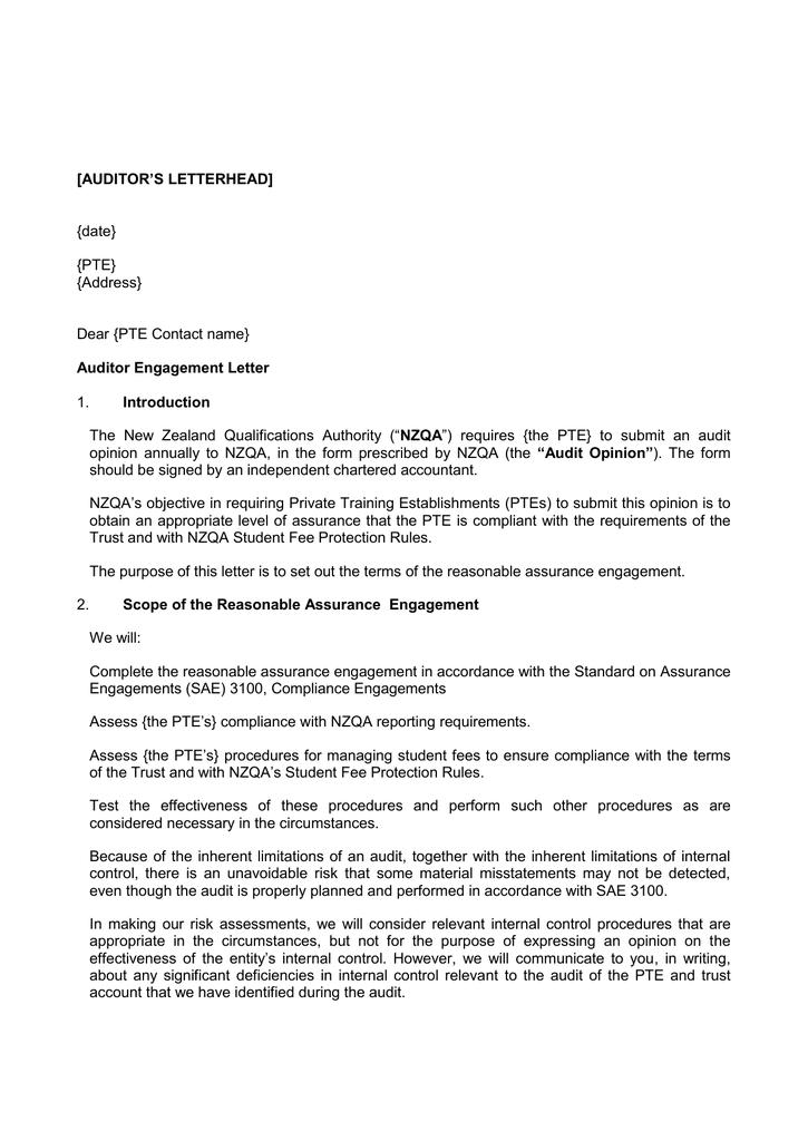 Auditor Engagement Letter - Insurance (DOC, 38KB)