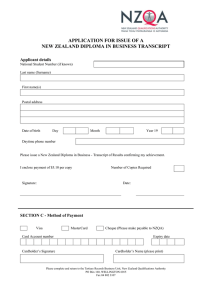 APPLICATION FOR ISSUE OF A NEW ZEALAND DIPLOMA IN BUSINESS TRANSCRIPT