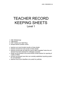 Teacher record keeping sheets (DOC, 143KB)