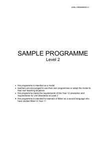 SAMPLE PROGRAMME Level 2