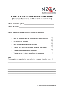 MODERATION: VISUAL/DIGITAL EVIDENCE COVER SHEET