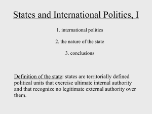 #2, States and International Politics (Part I)