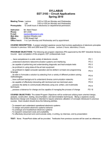 SYLLABUS – Circuit Applications EET 2193 Spring 2010