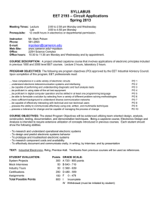 SYLLABUS – Circuit Applications EET 2193 Spring 2013