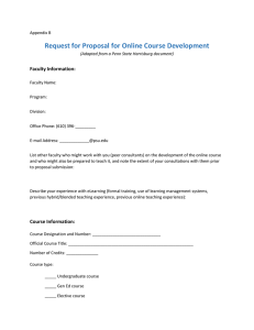 Request for Proposal for Online Course Development