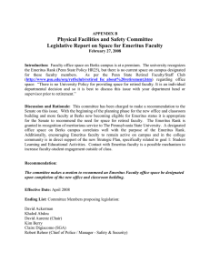 Physical Facilities and Safety Committee Legislative Report on Space for Emeritus Faculty