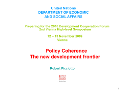 Policy Coherence - The New Development Frontier