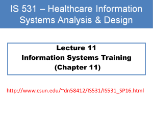 Lecture 11 Information Systems Training (Chapter 11)