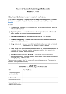 Review of Supported Learning unit standards Feedback Form