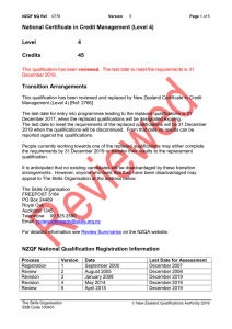 National Certificate in Credit Management (Level 4) Level 4 Credits