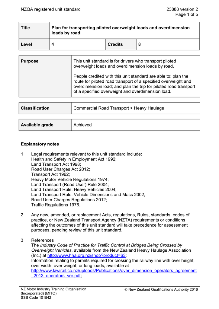 NZQA registered unit standard 23888 version 2 Page 1 of 5