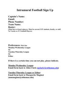 Intramural Football Sign Up  Captain's Name: Email: