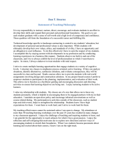 Dan T. Stearns Statement of Teaching Philosophy