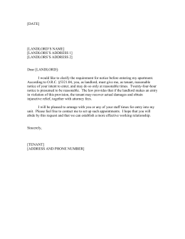 sample letter to landlord for repairs