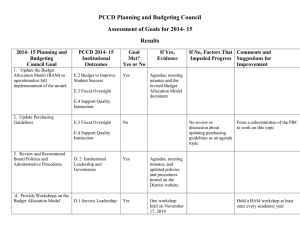 PBC assessment of 2014-15 goals results