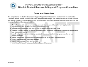 District Student Success & Support Program Committee Goals and Objectives