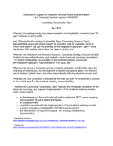 CFT PRT Resolution in Support of Academic Advising Module Implementation