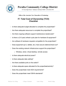 Peralta Community College District IT: Total Cost of Ownership (TCO) Checklist
