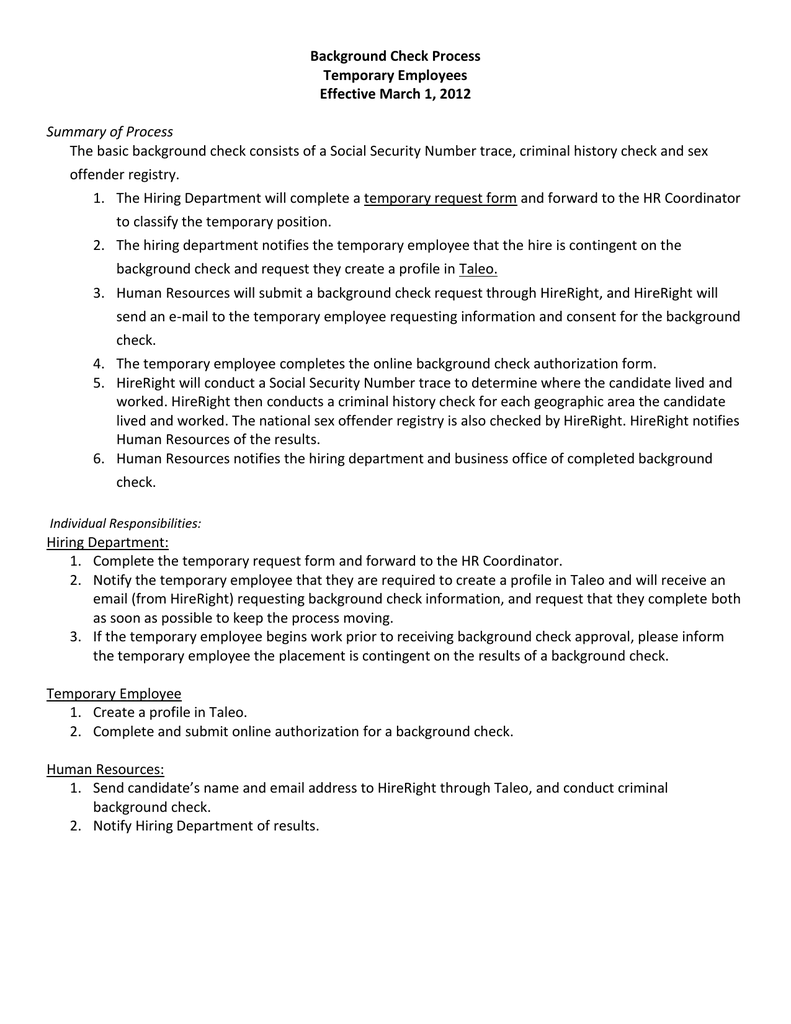 Process for temporary staff positions