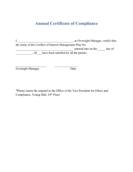 Annual Certificate of Compliance