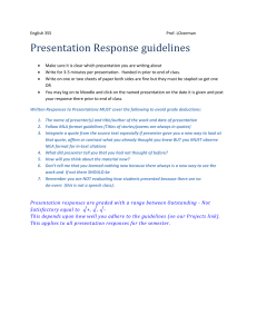 Presentation Response Guidelines