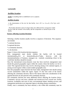 facilities location Lecture(5)