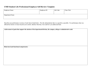 UMD Student Life Professional Employee Self-Review Template