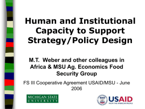 Human and Institutional Capacity to Support Strategy/Policy Design.