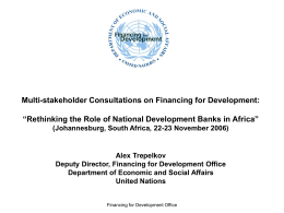 Multi-stakeholder consultations on Rethinking the Role of NDBs in Development Financing