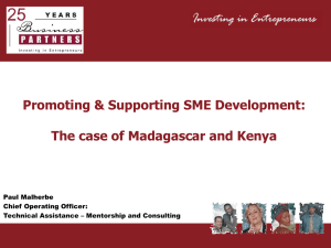 Promoting and supporting SME development – the case of Kenya Madagascar