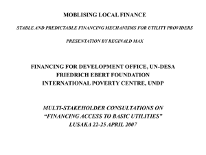 Reginald Max, Mobilising local finance: Stable and predictable financing mechanisms for utility providers