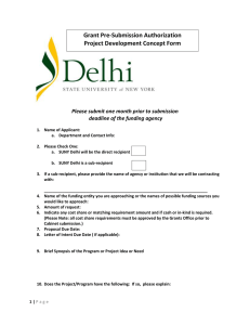 Grant Pre-Submission Authorization Project Development Concept Form deadline of the funding agency