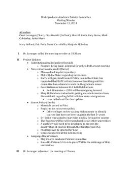 Undergraduate Academic Policies Committee Meeting Minutes November 13, 2014