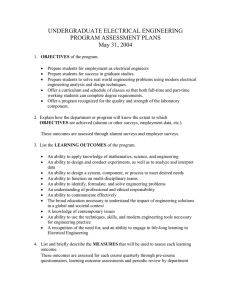 UNDERGRADUATE ELECTRICAL ENGINEERING PROGRAM ASSESSMENT PLANS May 31, 2004