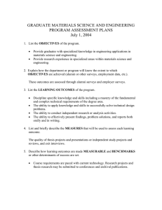 GRADUATE MATERIALS SCIENCE AND ENGINEERING PROGRAM ASSESSMENT PLANS July 1, 2004