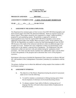 Assessment Report July 1, 2006-June 30, 2007