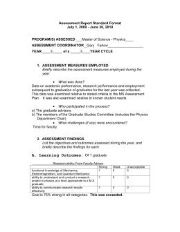 Assessment Report Standard Format July 1, 2009   June 30, 2010
