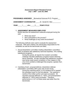 Assessment Report Standard Format July 1, 2007 - June 30, 2008