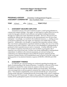 Assessment Report Standard Format July 2007 – June 2008  PROGRAM(S) ASSESSED