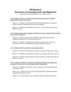 BS Business Assurance of Learning Goals and Objectives