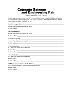 Regional Science Fair Media Contacts
