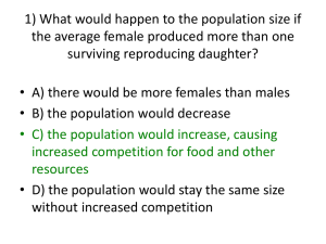 1) What would happen to the population size if